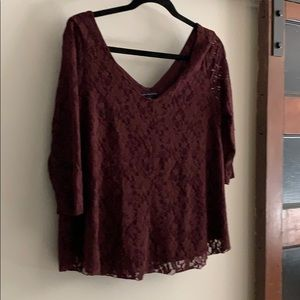 American Eagle lace top blouse - burgundy size M